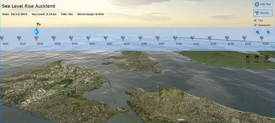 An image depicting a view from the sea level rise tool developed by University of Auckland.